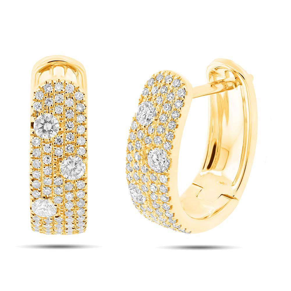 0.56ct 14k Yellow Gold Diamond Huggie Earrings