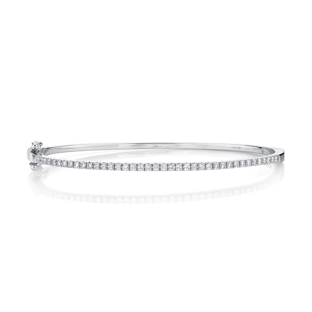 0.62ct 14k White Gold Diamond Bangle Bracelet