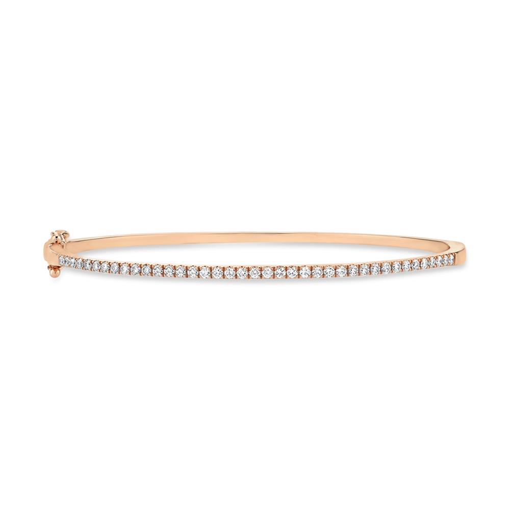 0.62ct 14k Rose Gold Diamond Bangle Bracelet