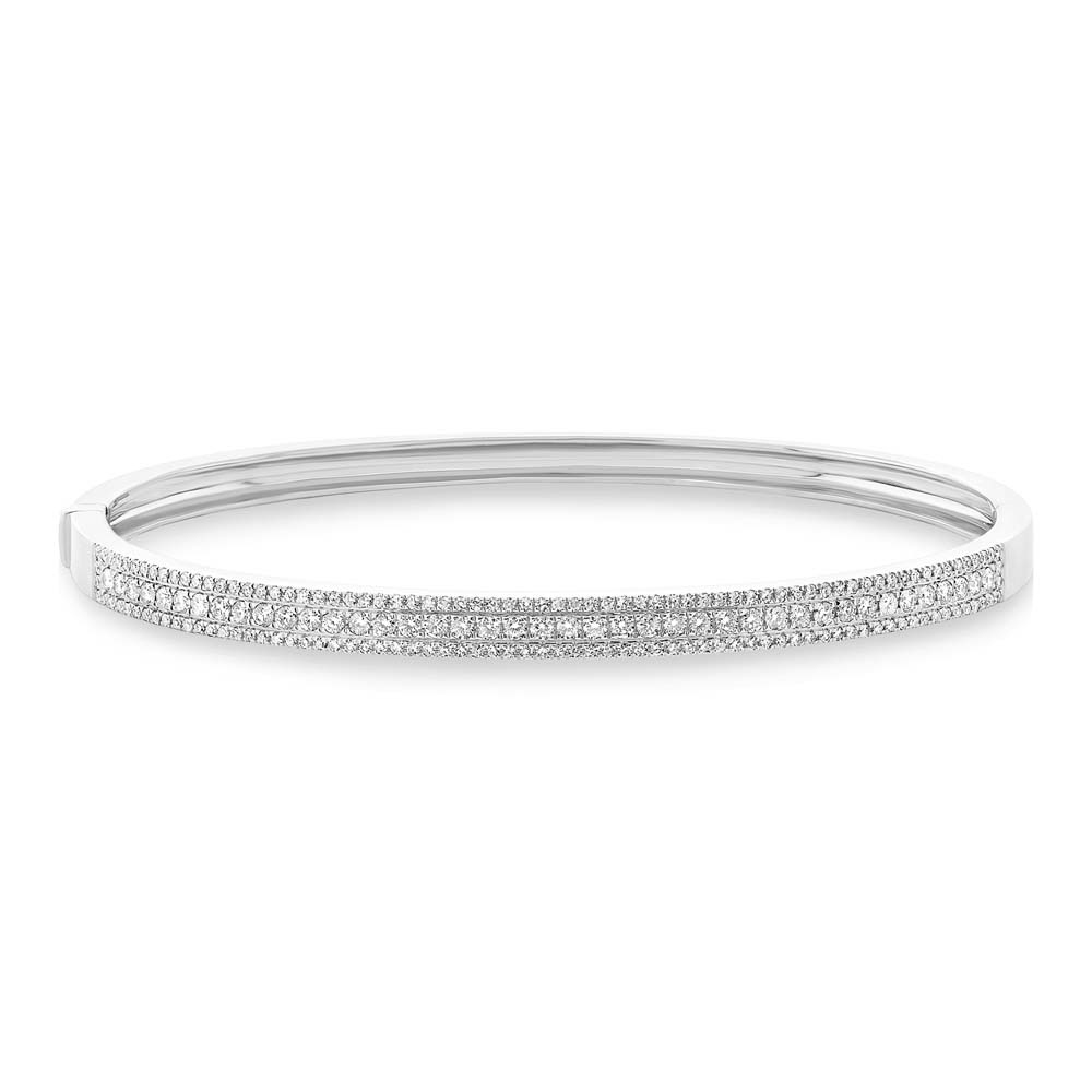 0.90ct 14k White Gold Diamond Bangle Bracelet