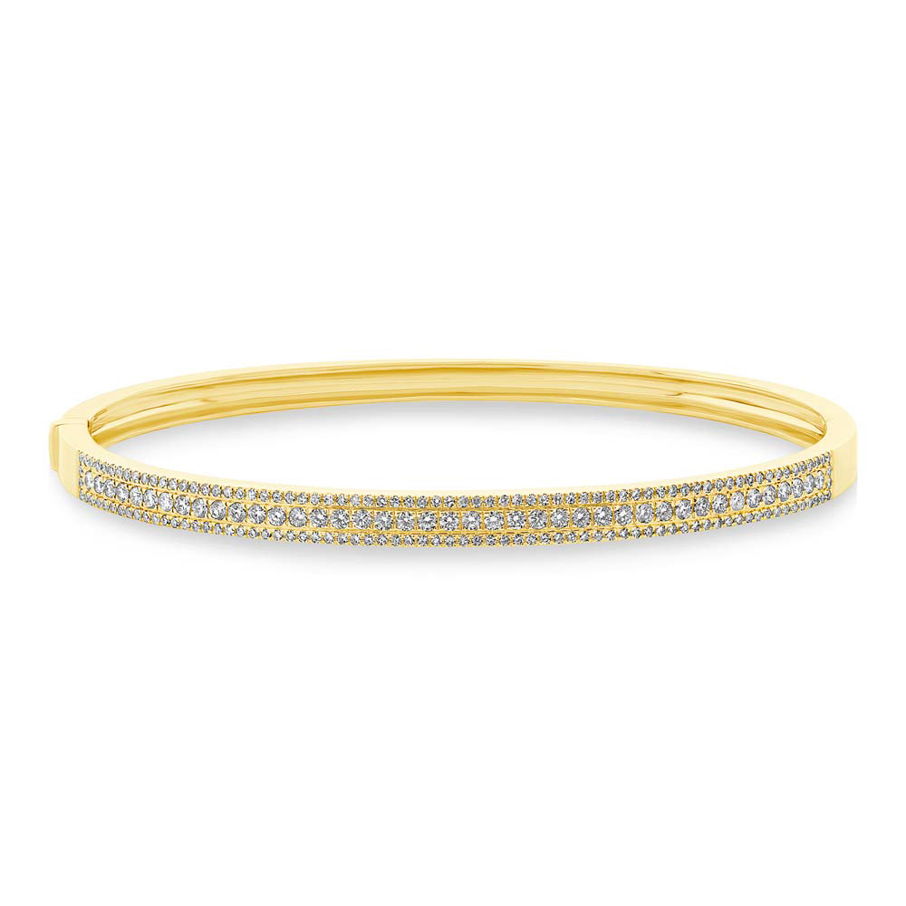 0.90ct 14k Yellow Gold Diamond Bangle Bracelet