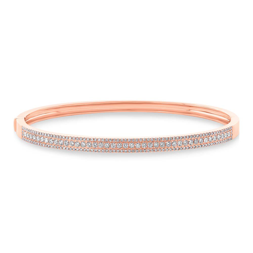 0.90ct 14k Rose Gold Diamond Bangle Bracelet
