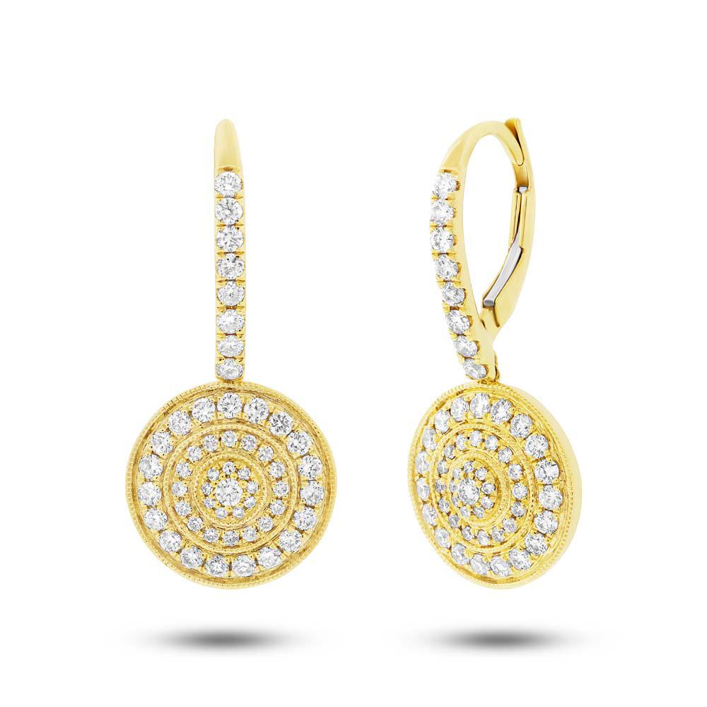 0.98ct 14k Yellow Gold Diamond Circle Earrings