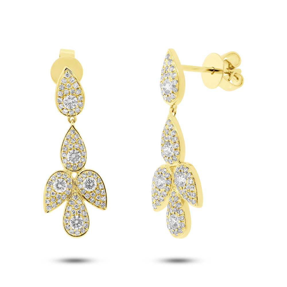 0.81ct 14k Yellow Gold Diamond Earrings