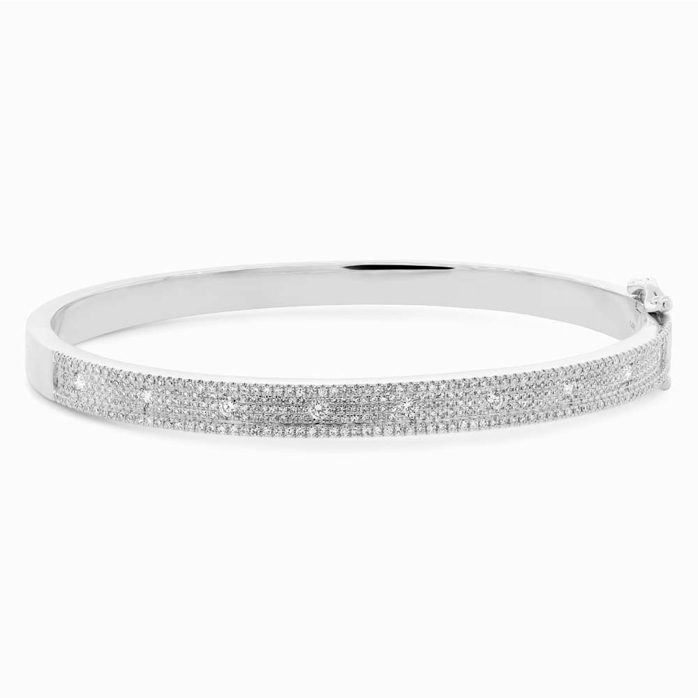 1.01ct 14k White Gold Diamond Bangle Bracelet
