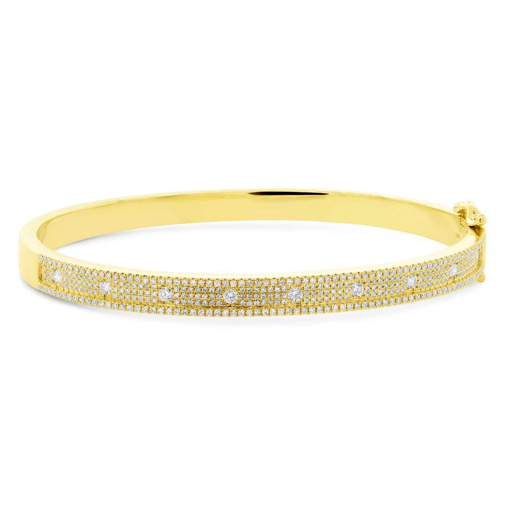 1.01ct 14k Yellow Gold Diamond Bangle Bracelet