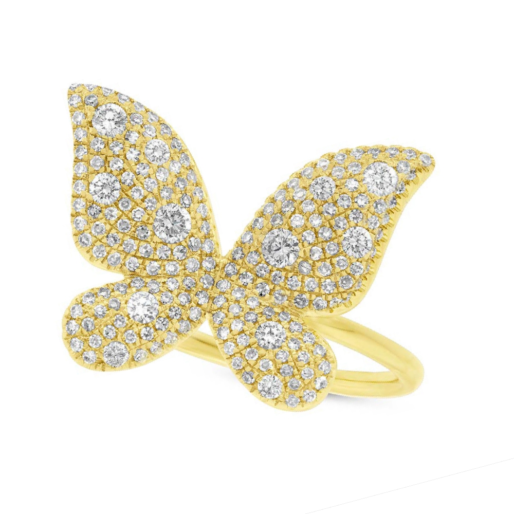 0.72ct 14k Yellow Gold Diamond Butterfly Lady's Ring