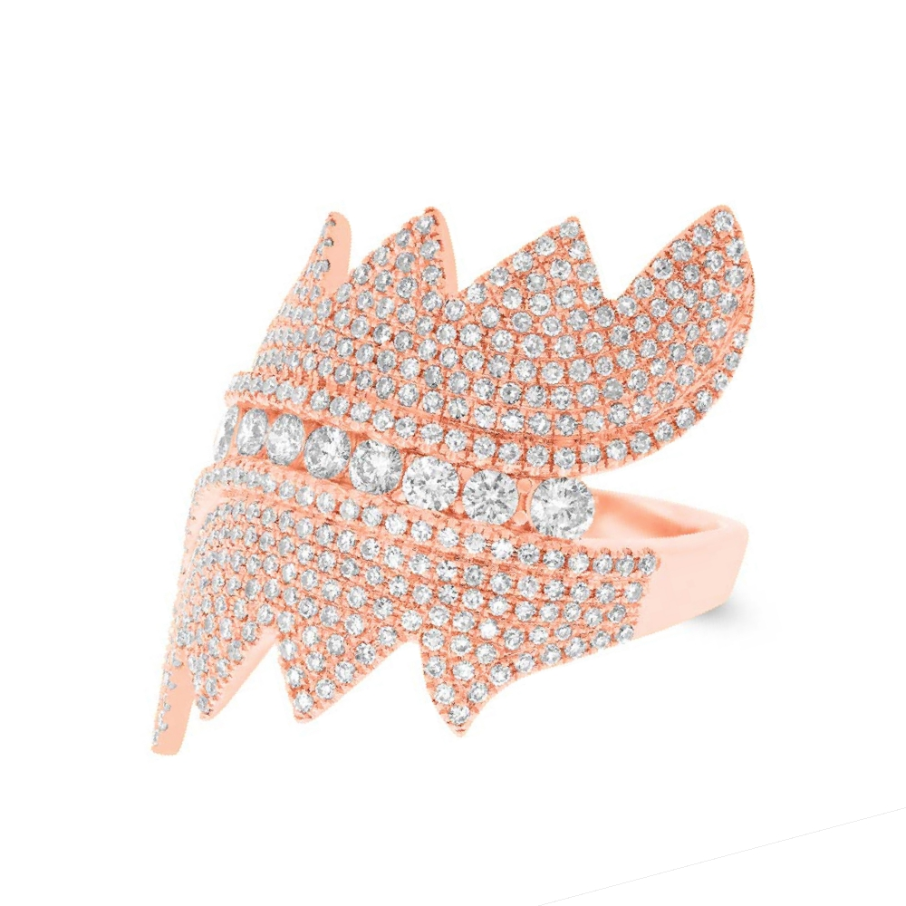 1.28ct 14k Rose Gold Diamond Pave Lady's Ring