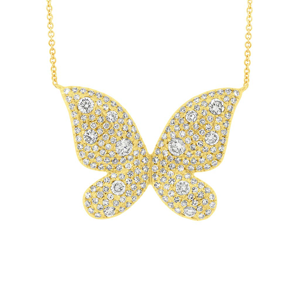 0.69ct 14k Yellow Gold Diamond Butterfly Necklace