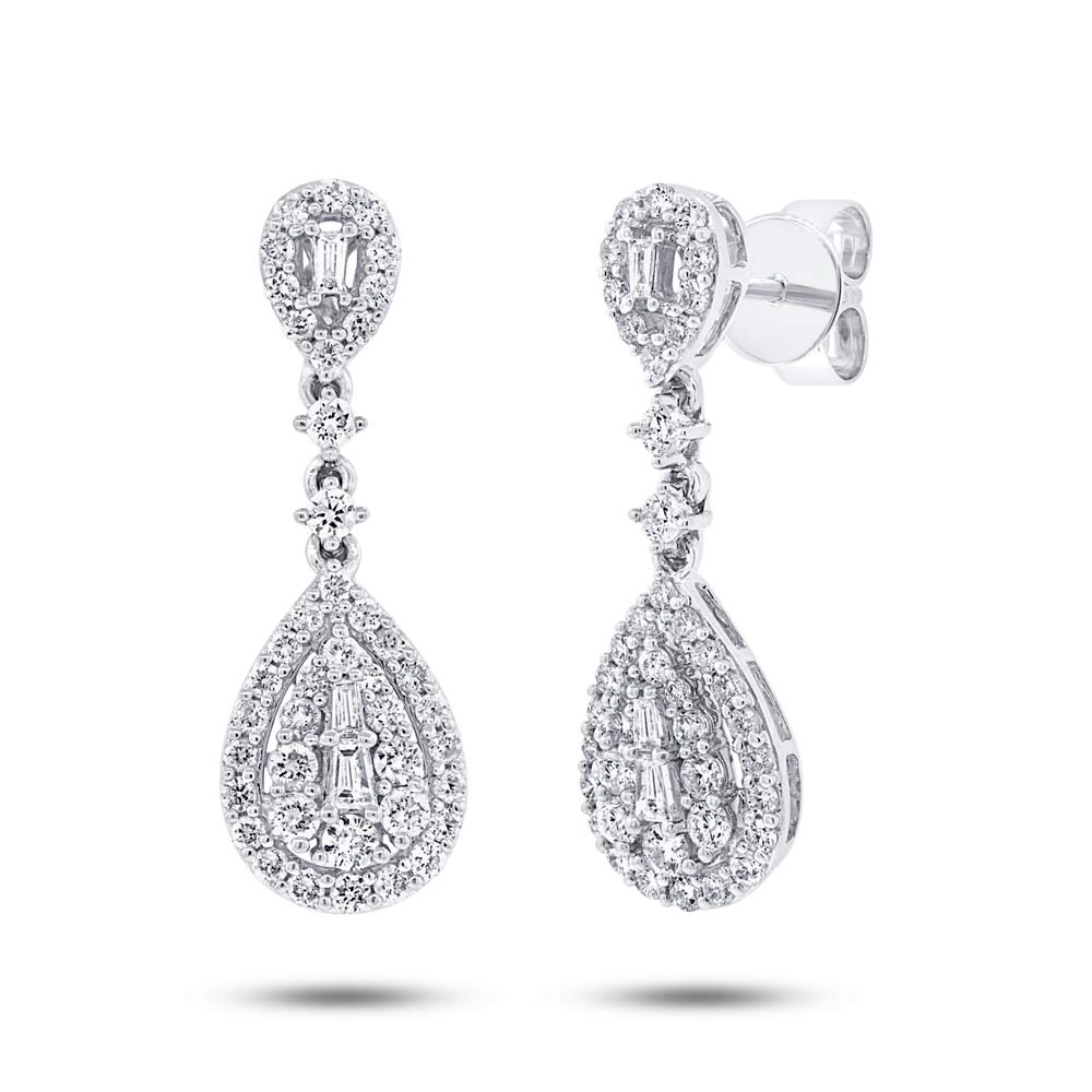1.09ct 18k White Gold Diamond Earrings