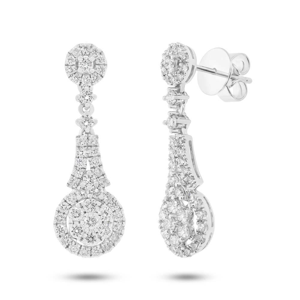 1.44ct 18k White Gold Diamond Earrings