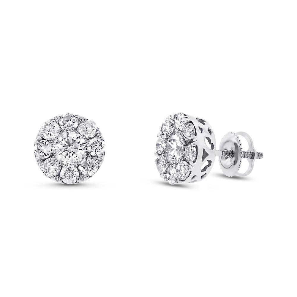 1.99ct 14k White Gold Diamond Cluster Earrings