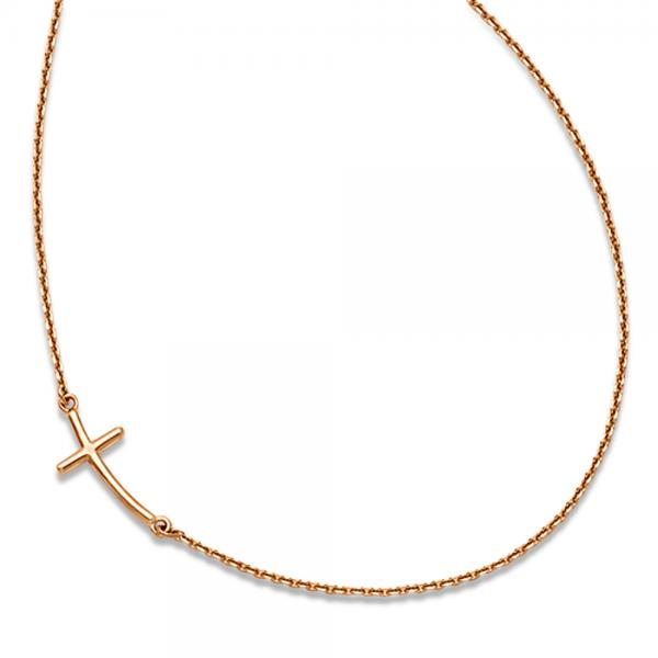 Small Sideways Curved Cross Pendant Necklace In 14k Rose