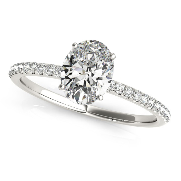 Diamond Accented Oval Shape Engagement Ring 14k White Gold (0.75ct)