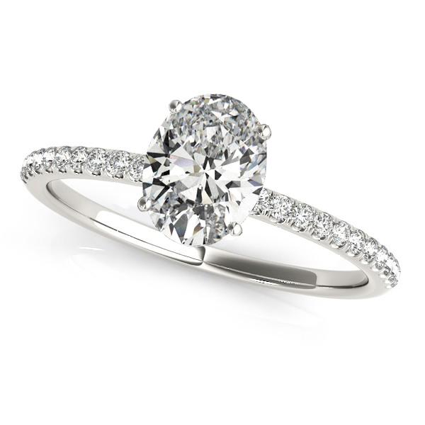 Diamond Accented Oval Shape Engagement Ring Palladium (0.75ct)