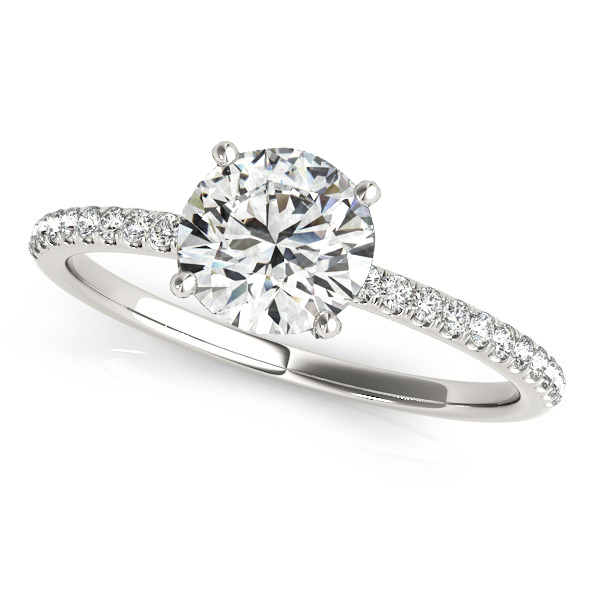 Diamond Accented Round Engagement Ring 18k White Gold (1.12ct)