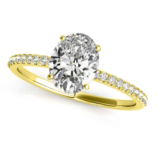 Diamond Accented Oval Shape Engagement Ring 14k Yellow Gold (1.00ct)