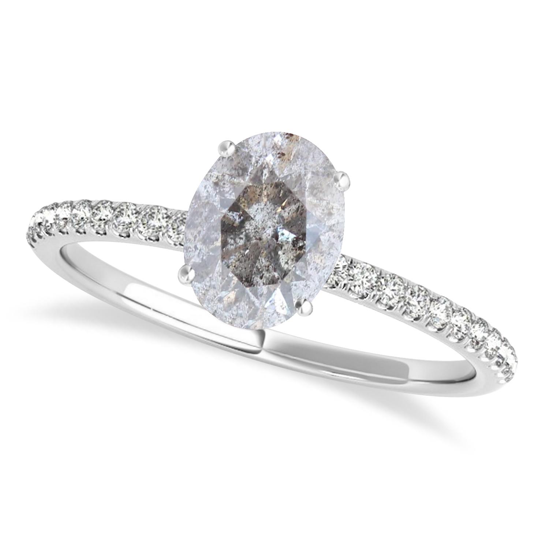 Oval Salt & Pepper Diamond Accented  Engagement Ring Palladium (1.00ct)