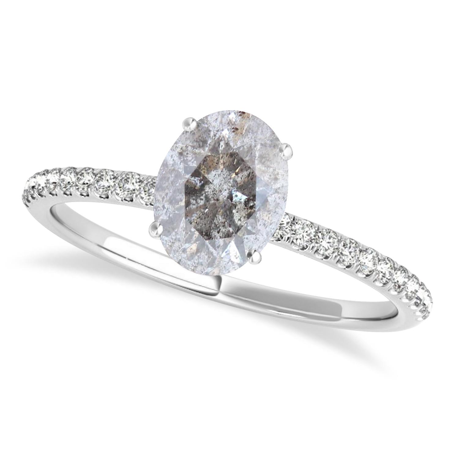 Oval Salt & Pepper Diamond Accented  Engagement Ring 14k White Gold (1.50ct)