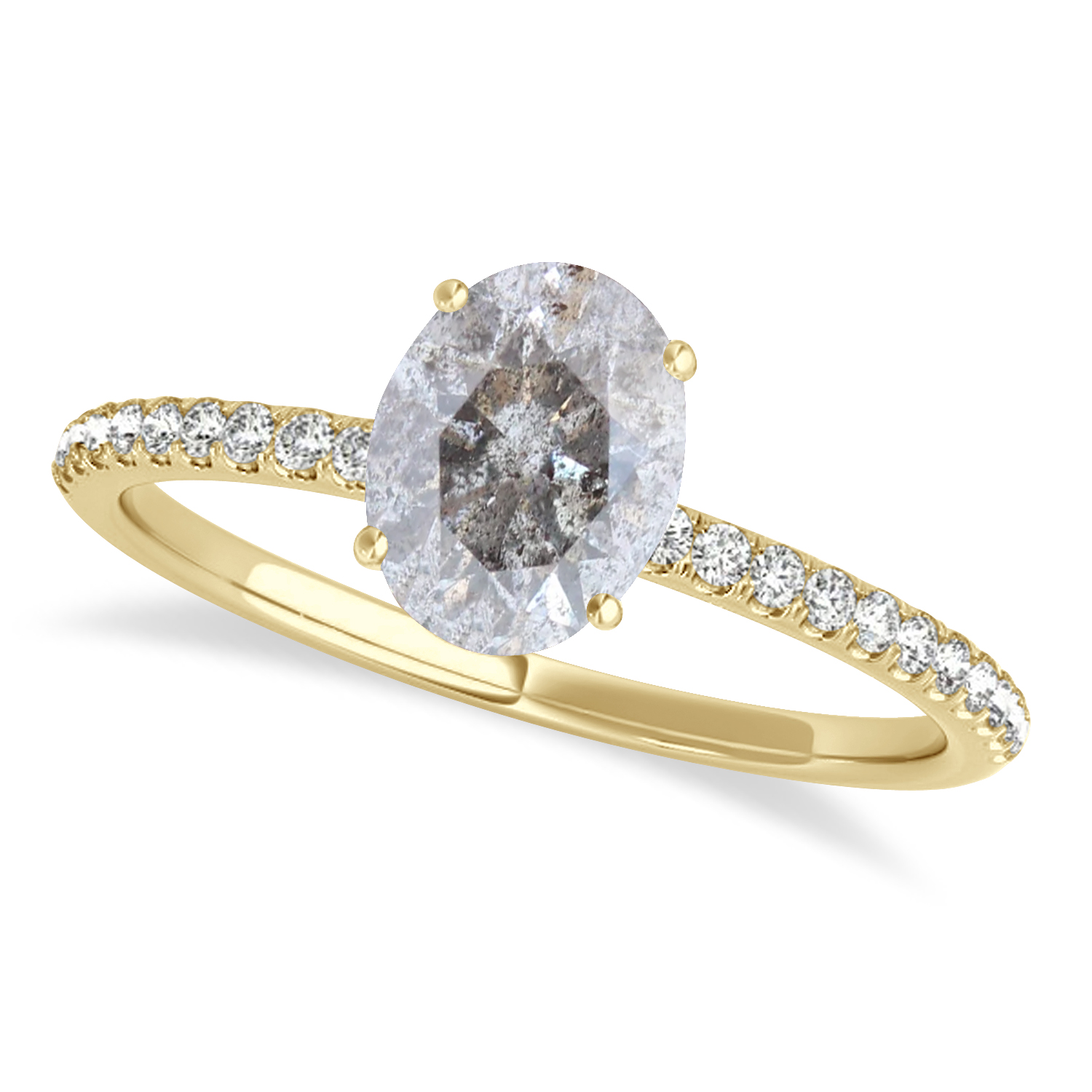 Oval Salt & Pepper Diamond Accented  Engagement Ring 14k Yellow Gold (1.50ct)