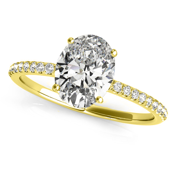 Diamond Accented Oval Shape Engagement Ring 14k Yellow Gold (1.50ct)