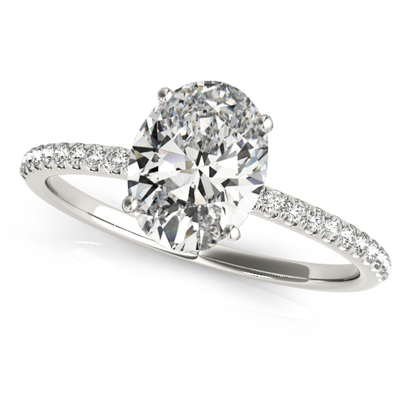Diamond Accented Oval Shape Engagement Ring 18k White Gold (1.50ct)