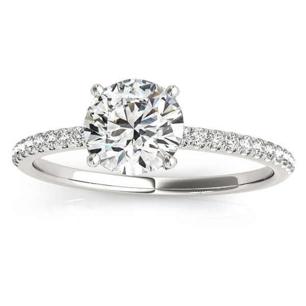 Diamond Accented Engagement Ring Setting 14k White Gold (0.12ct)