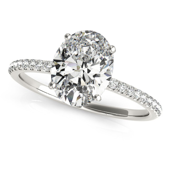 Diamond Accented Oval Shape Engagement Ring 14k White Gold (2.00ct)
