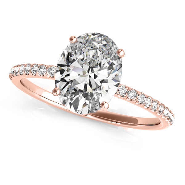 Diamond Accented Oval Shape Engagement Ring 18k Rose Gold (2.00ct)