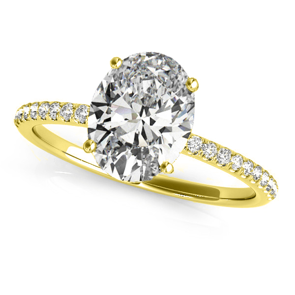 Diamond Accented Oval Shape Engagement Ring 18k Yellow Gold (2.00ct)