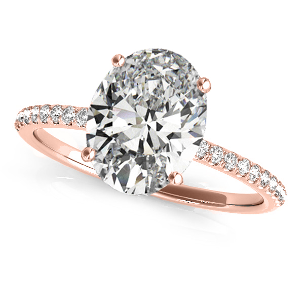 Diamond Accented Oval Shape Engagement Ring 14k Rose Gold (2.50ct)