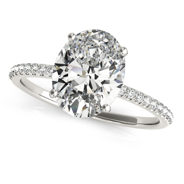Diamond Accented Oval Shape Engagement Ring 18k White Gold (2.50ct)