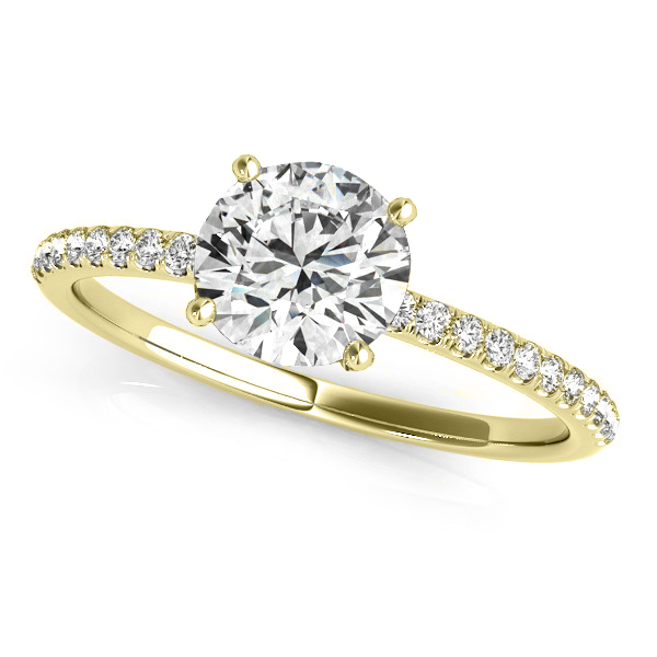 Diamond Accented Round Engagement Ring 18k Yellow Gold (3.12ct)