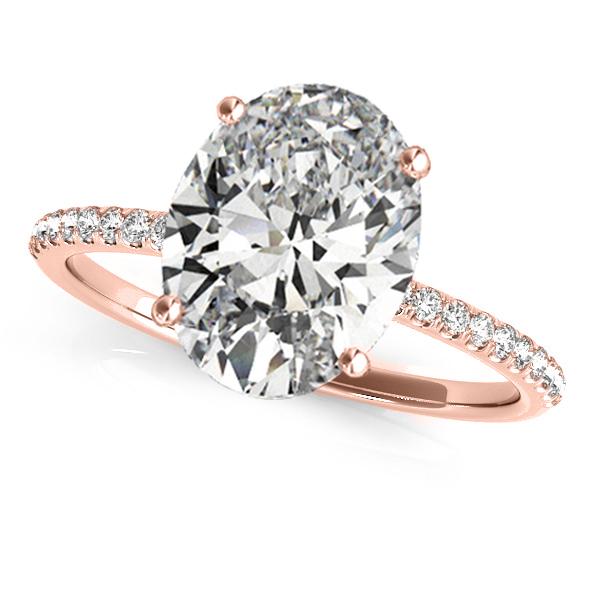 Diamond Accented Oval Shape Engagement Ring 18k Rose Gold (3.00ct)