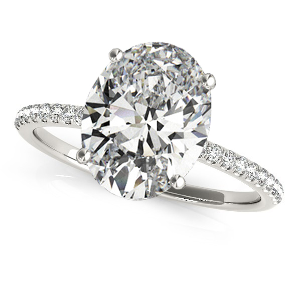 Diamond Accented Oval Shape Engagement Ring 18k White Gold (3.00ct)