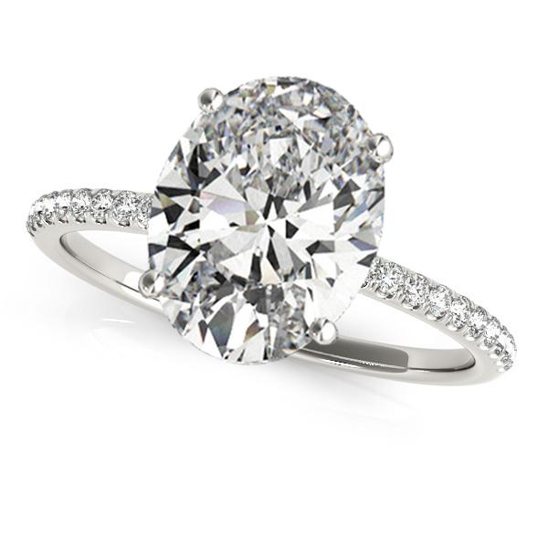 Diamond Accented Oval Shape Engagement Ring Palladium (3.00ct)