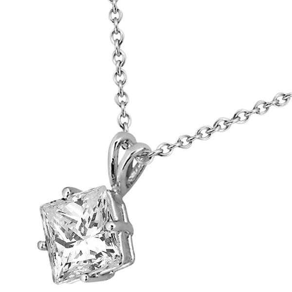 1.00ct. Princess-Cut Diamond Solitaire Pendant in 18k White Gold (H, VS2)