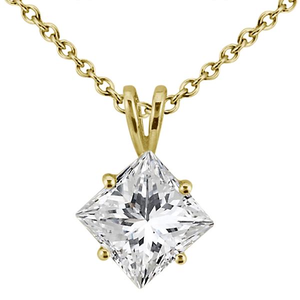 0.50ct. Princess-Cut Diamond Solitaire Pendant in 18k Yellow Gold (I, SI2-SI3)