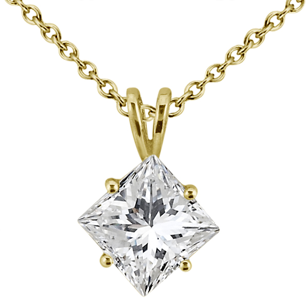 1.00ct. Princess Diamond Solitaire Pendant 14K Yellow Gold (J-K, I1-I2)