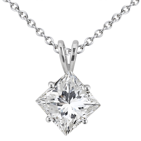 0.50ct. Princess-Cut Diamond Solitaire Pendant 14K White Gold (J-K, I1-I2)