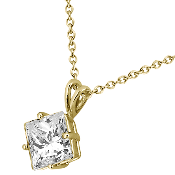 0.50ct. Princess-Cut Diamond Solitaire Pendant 14k Yellow Gold (J-K, I1-I2)