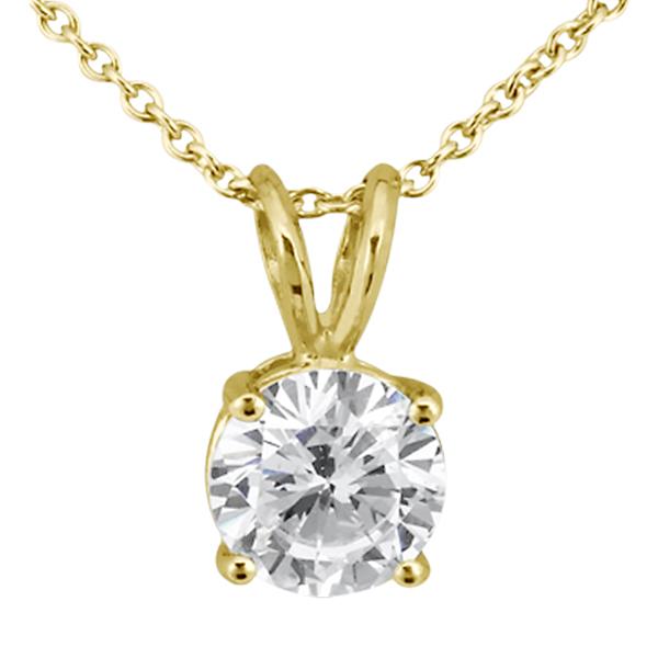 1.00ct. Round Diamond Solitaire Pendant in 18k Yellow Gold (H, VS2)
