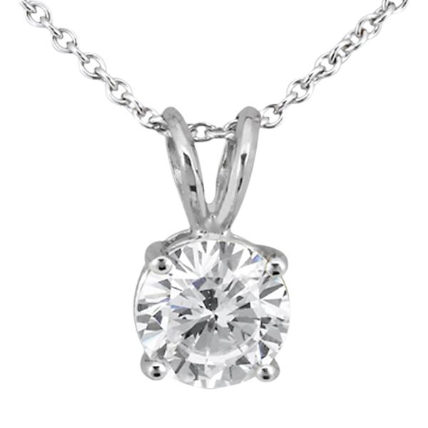 0.75ct. Round Diamond Solitaire Pendant in 18k White Gold (H, VS2)