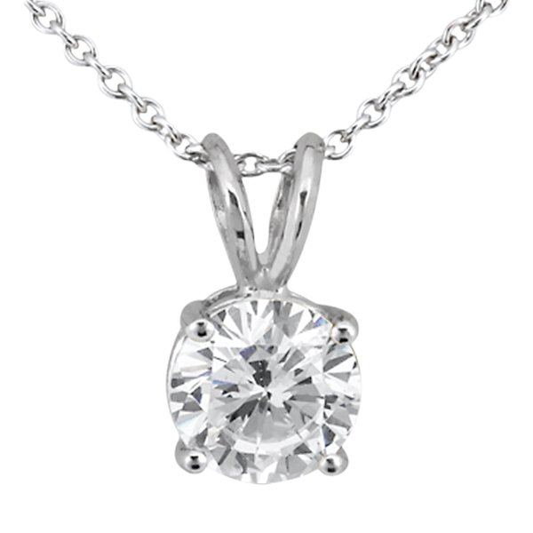 0.33ct. Round Diamond Solitaire Pendant in 18k White Gold (I, SI2-SI3)