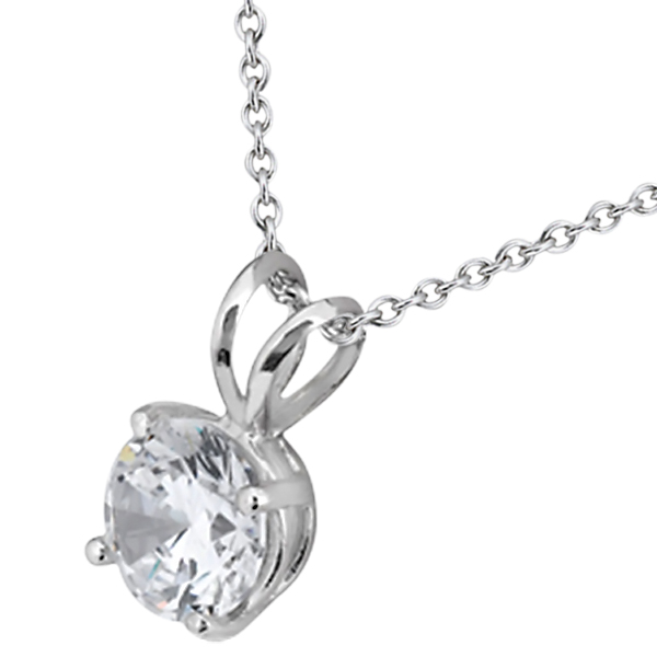 1.00ct. Round Diamond Solitaire Pendant in 14K White Gold (J-K, I1-I2)