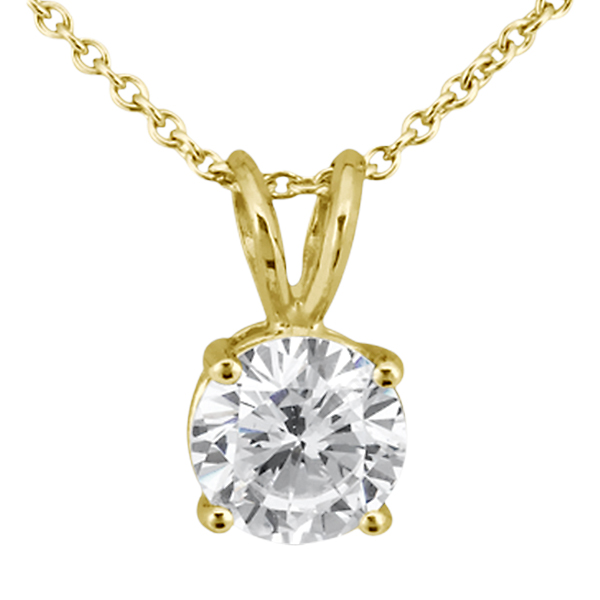 0.33ct. Round Diamond Solitaire Pendant in 14k Yellow Gold (J-K, I1-I2)