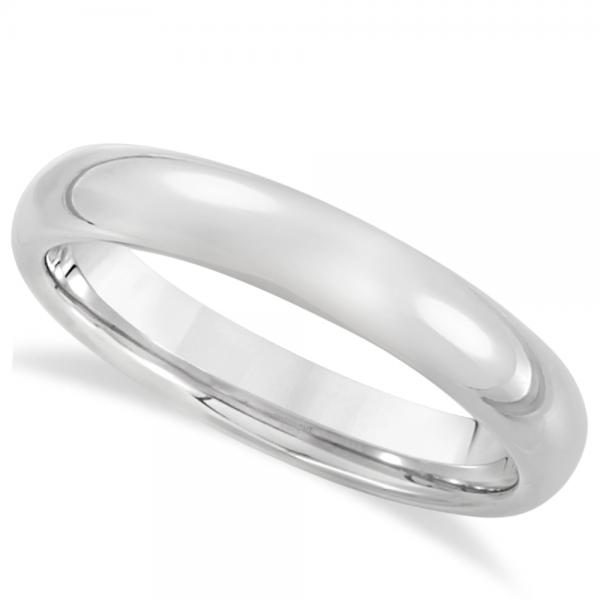 Men's Domed Wedding Ring Band in White Tungsten (4.3mm)