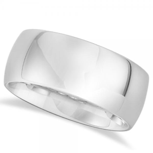 Men's Domed Polished Wedding Ring Band in White Tungsten (10mm)