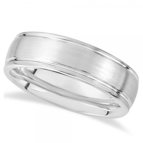 Men's Grooved Dome Wedding Ring Band in White Dura Tungsten (7.3mm)