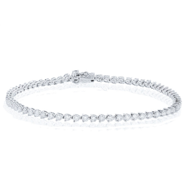 3.06ct 18k White Gold Diamond Tennis Bracelet